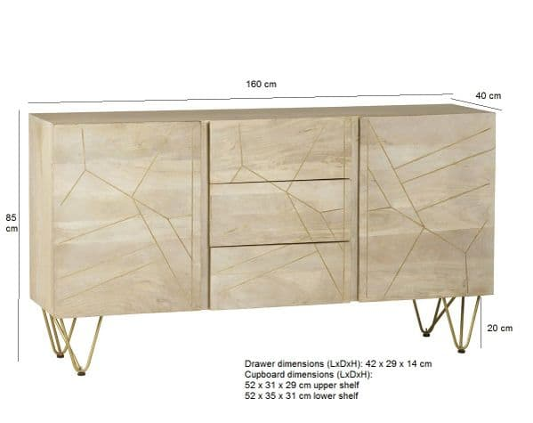 Brecon Light Mango Wood Centre Drawer Sideboard   Extra large two door and three centre drawer sideboard with metal inlay detail and hairpin legs.